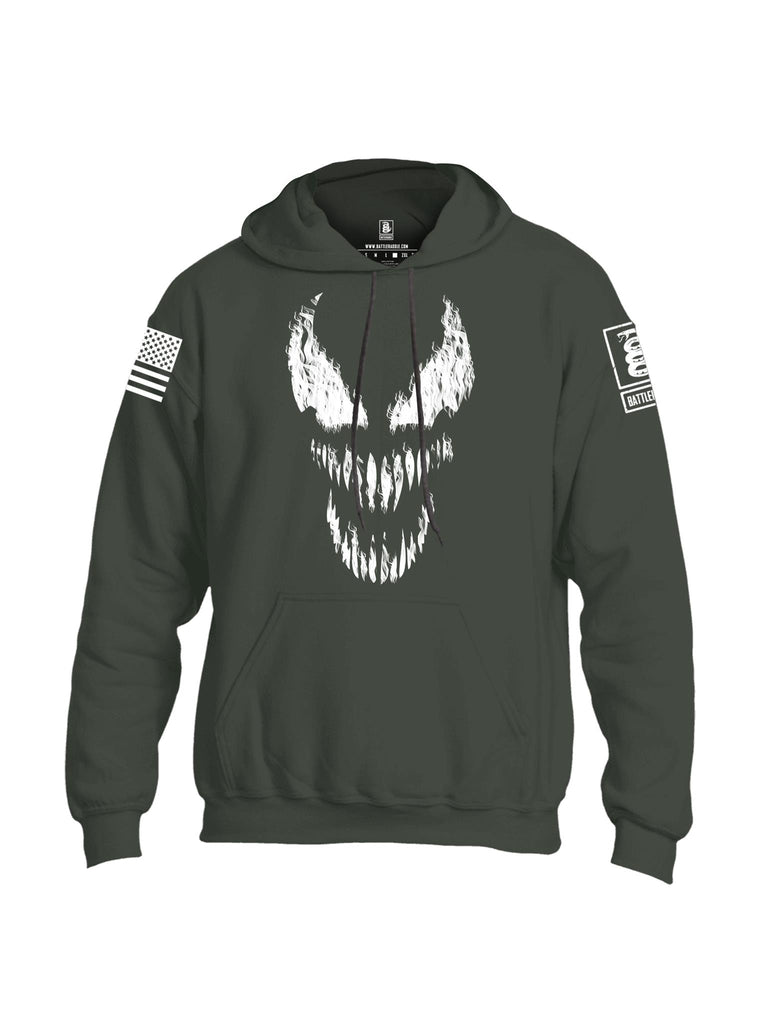 Battleraddle Classic Venom White Sleeve Print Mens Blended Hoodie With Pockets - Battleraddle® LLC