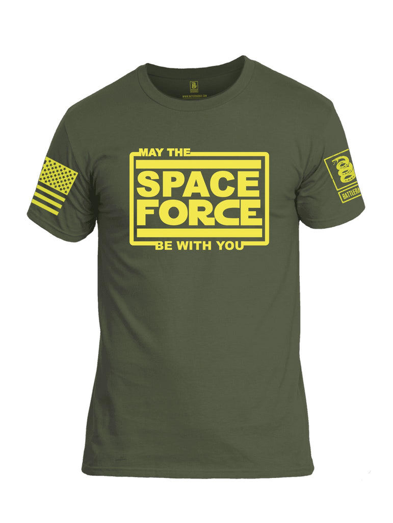 Battleraddle May The Space Force Be With You Yellow Sleeve Print Mens Cotton Crew Neck T Shirt