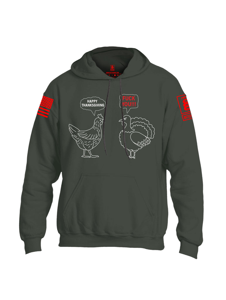 Battleraddle Happy Thanksgiving Fuck You!!! Red Sleeve Print Mens Blended Hoodie With Pockets