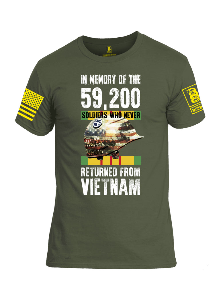 Battleraddle In Memory Of The 59,200 Soldiers Who Never Returned From Vietnam Yellow Sleeve Print Mens Cotton Crew Neck T Shirt