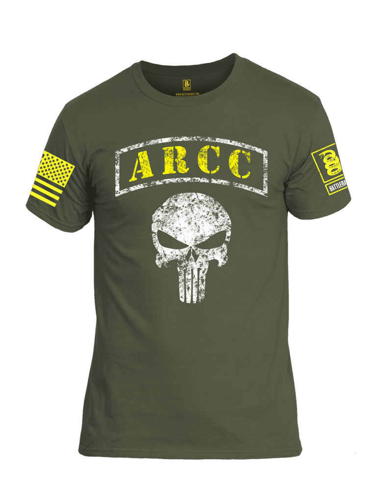Battleraddle ARCC Punisher Yellow Sleeve Print Mens Cotton Crew Neck T Shirt - Battleraddle® LLC