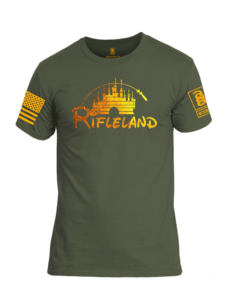 Battleraddle Rifleland V1 Orange Sleeve Print Mens Cotton Crew Neck T Shirt