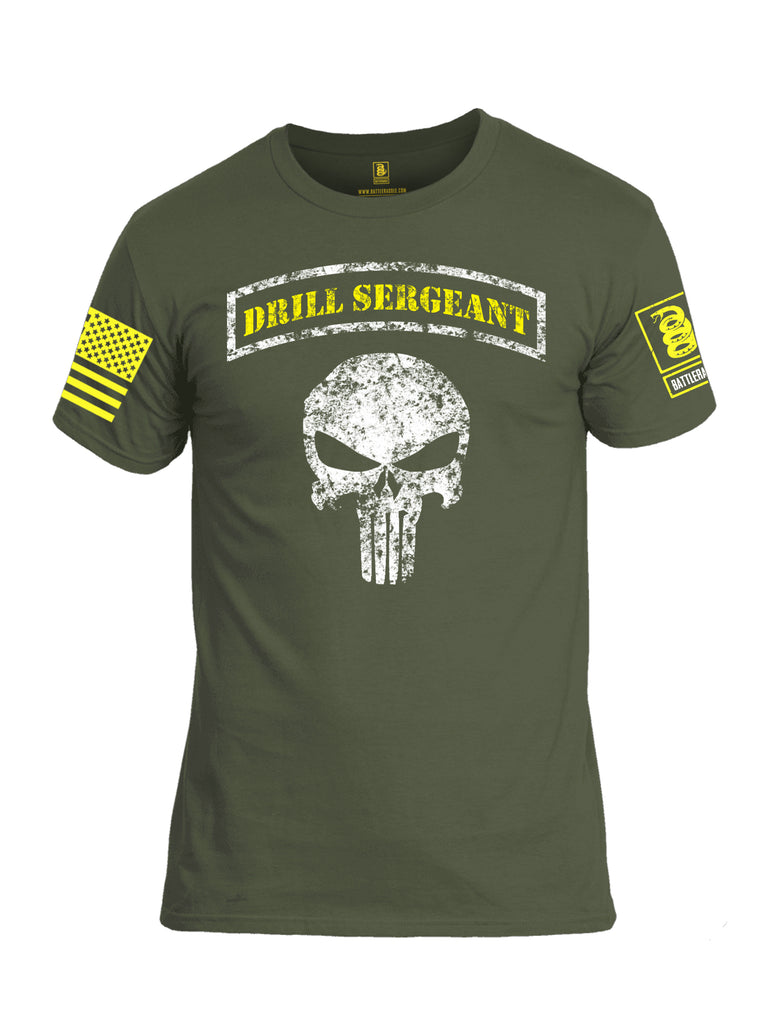 Battleraddle Drill Sergeant Expounder Yellow Sleeve Print Mens Cotton Crew Neck T Shirt