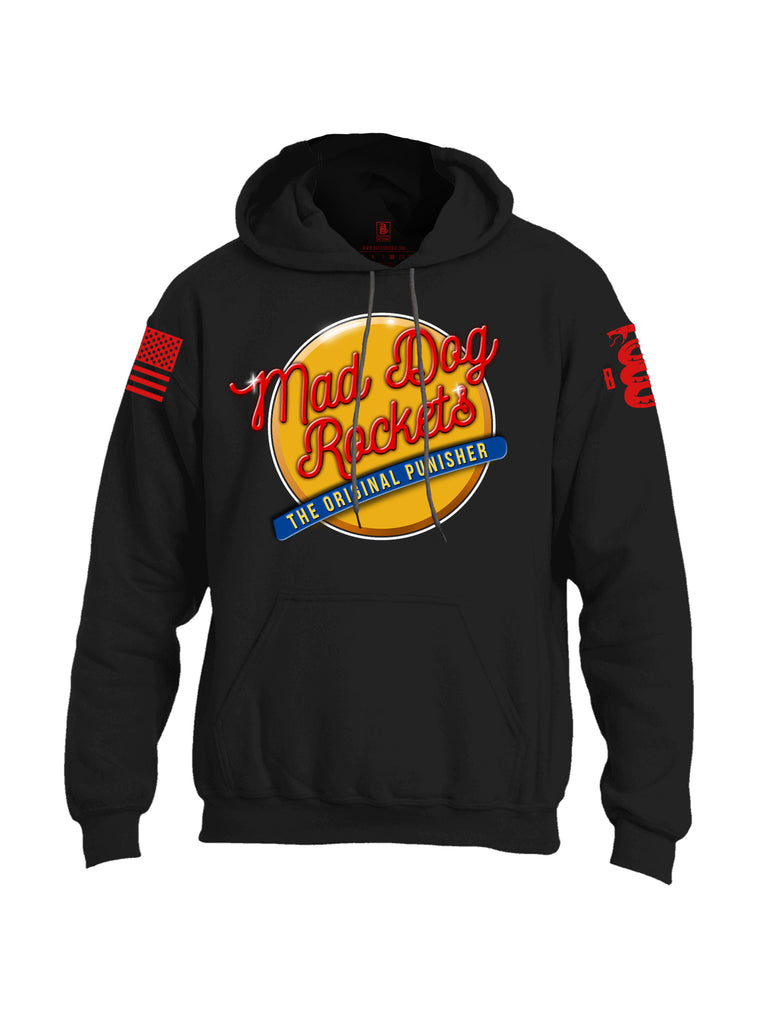 Battleraddle Mad Dog Rockets The Original Expounder Red Sleeve Print Mens Blended Hoodie With Pockets