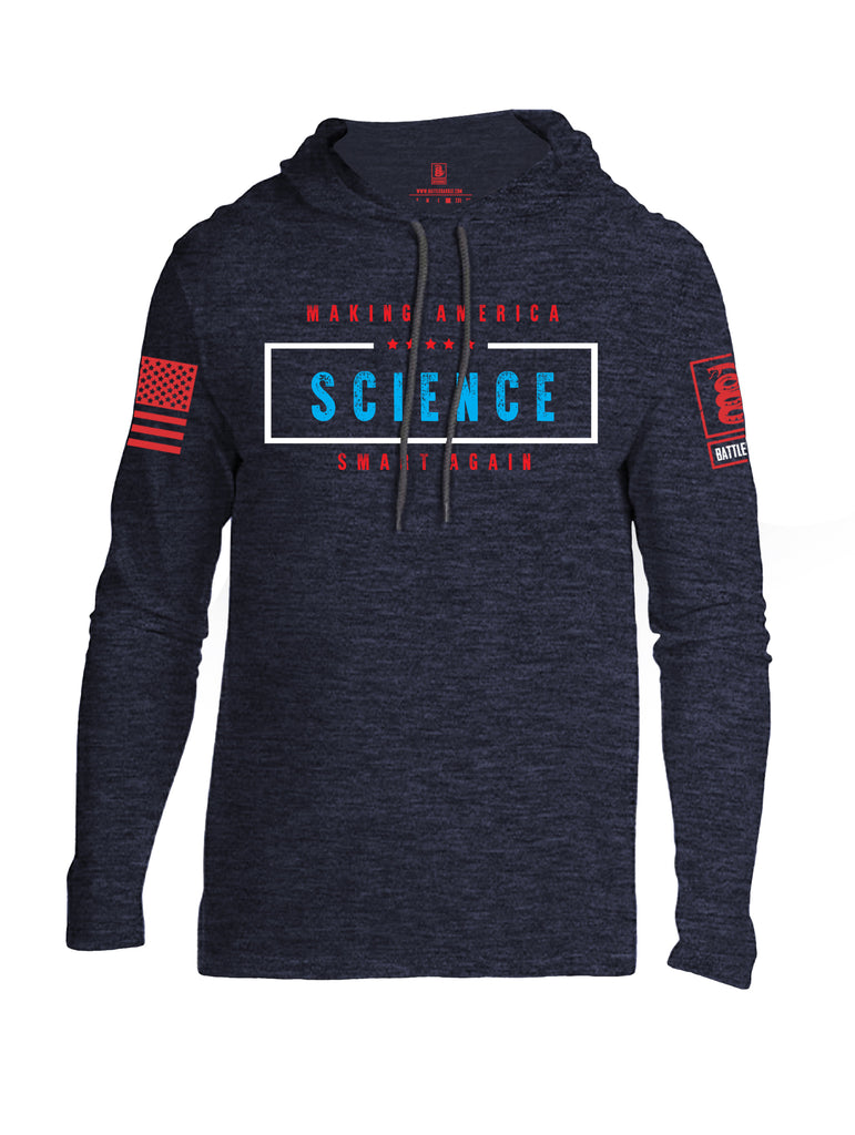 Battleraddle Making America SCIENCE Smart Again Red Sleeve Print Mens Thin Cotton Lightweight Hoodie