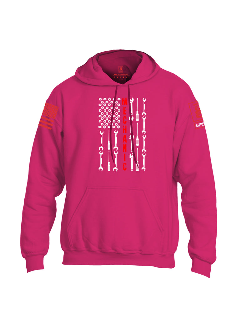 Battleraddle Mechanic Flag Red Sleeve Print Mens Blended Hoodie With Pockets
