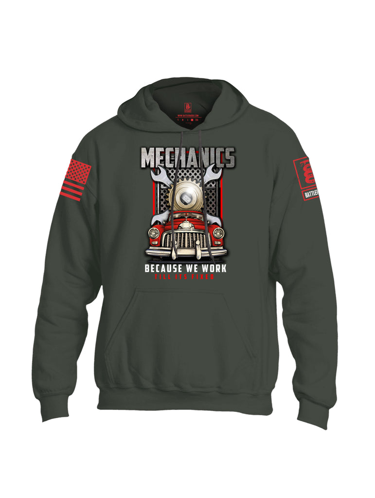 Battleraddle Mechanics Red Sleeve Print Mens Blended Hoodie With Pockets
