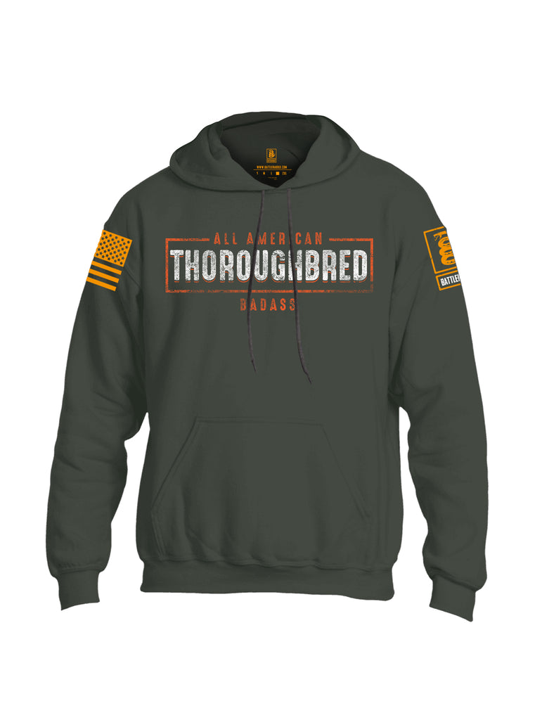 Battleraddle All American Thoroughbred Badass Orange Sleeve Print Mens Blended Hoodie With Pockets