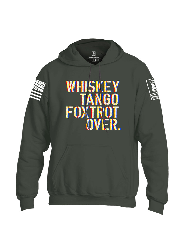 Battleraddle Whiskey Tango Foxtrot Over White Sleeve Print Mens Blended Hoodie With Pockets