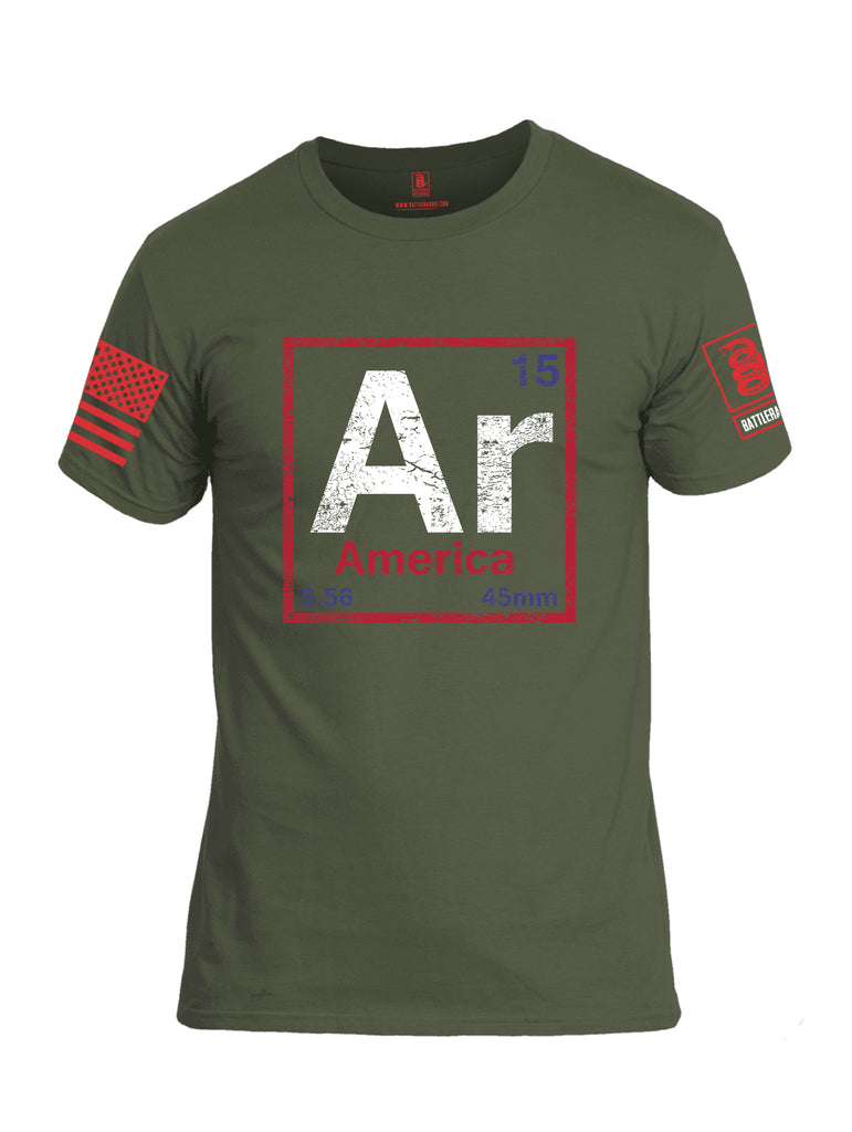 Battleraddle AR America V2 Red Sleeve Print Mens Cotton Crew Neck T Shirt