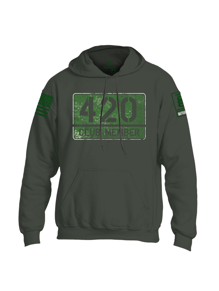 Battleraddle 420 Club Member Green Sleeve Print Mens Blended Hoodie With Pockets