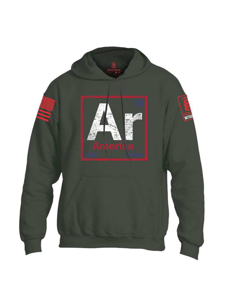 Battleraddle AR America V2 Red Sleeve Print Mens Blended Hoodie With Pockets