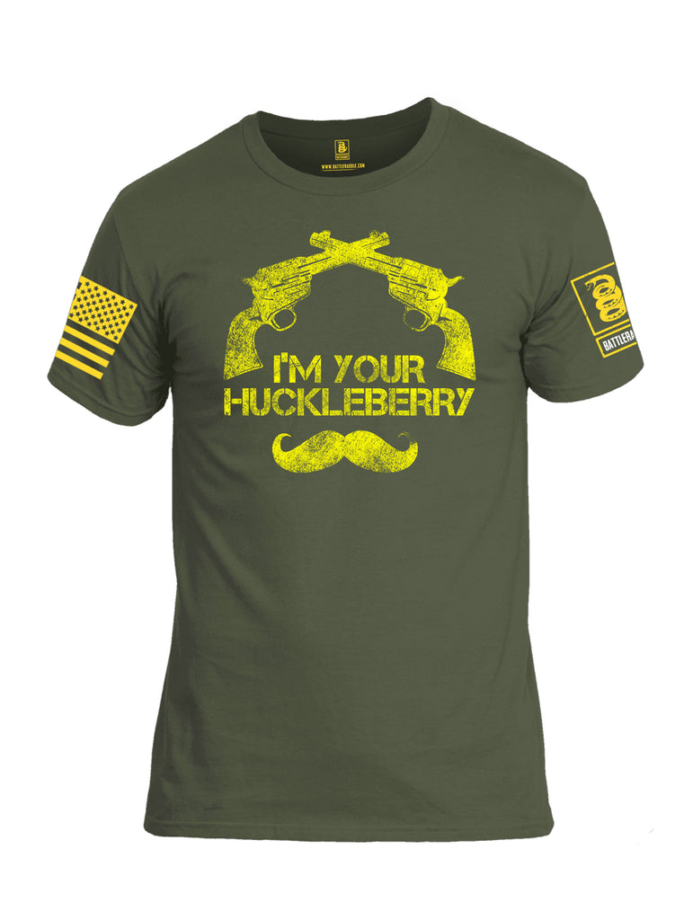 Battleraddle I'm Your Huckleberry Yellow Sleeve Print Mens Cotton Crew Neck T Shirt