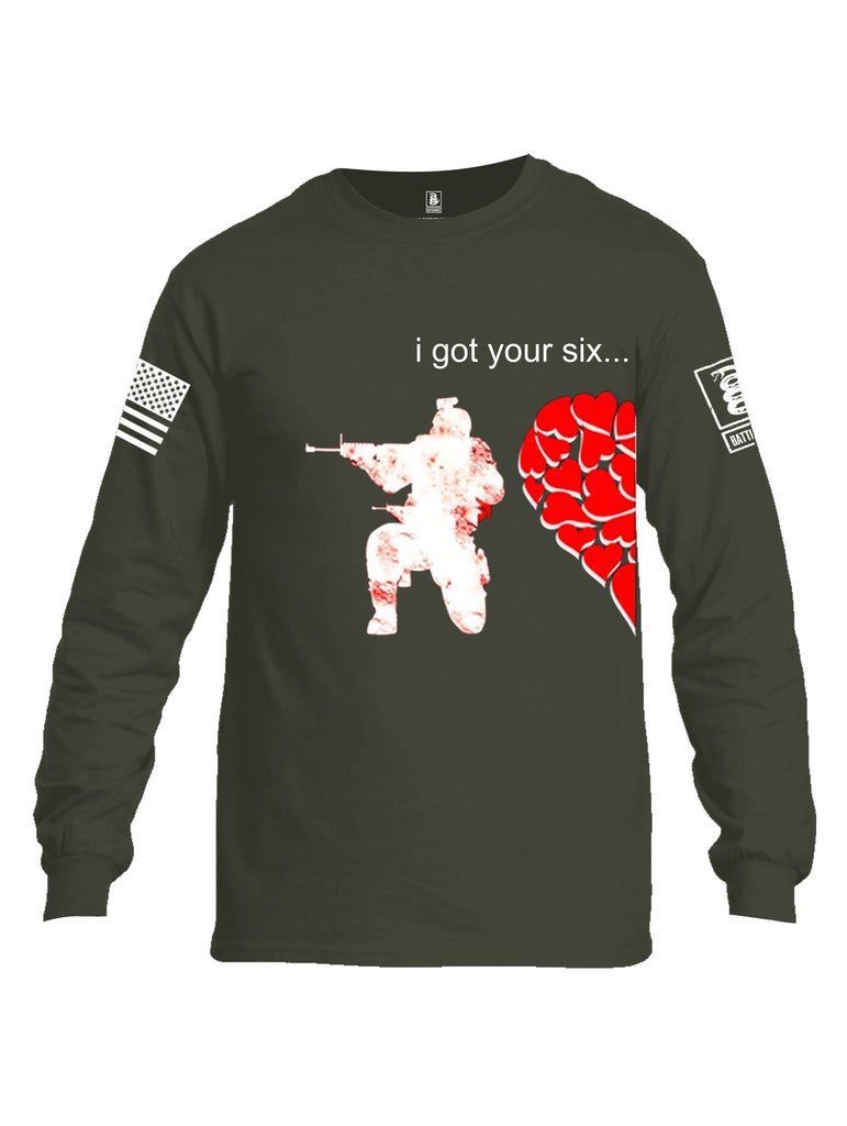 Battleraddle I Got Your Six White Sleeve Print Mens Cotton Long Sleeve Crew Neck T Shirt