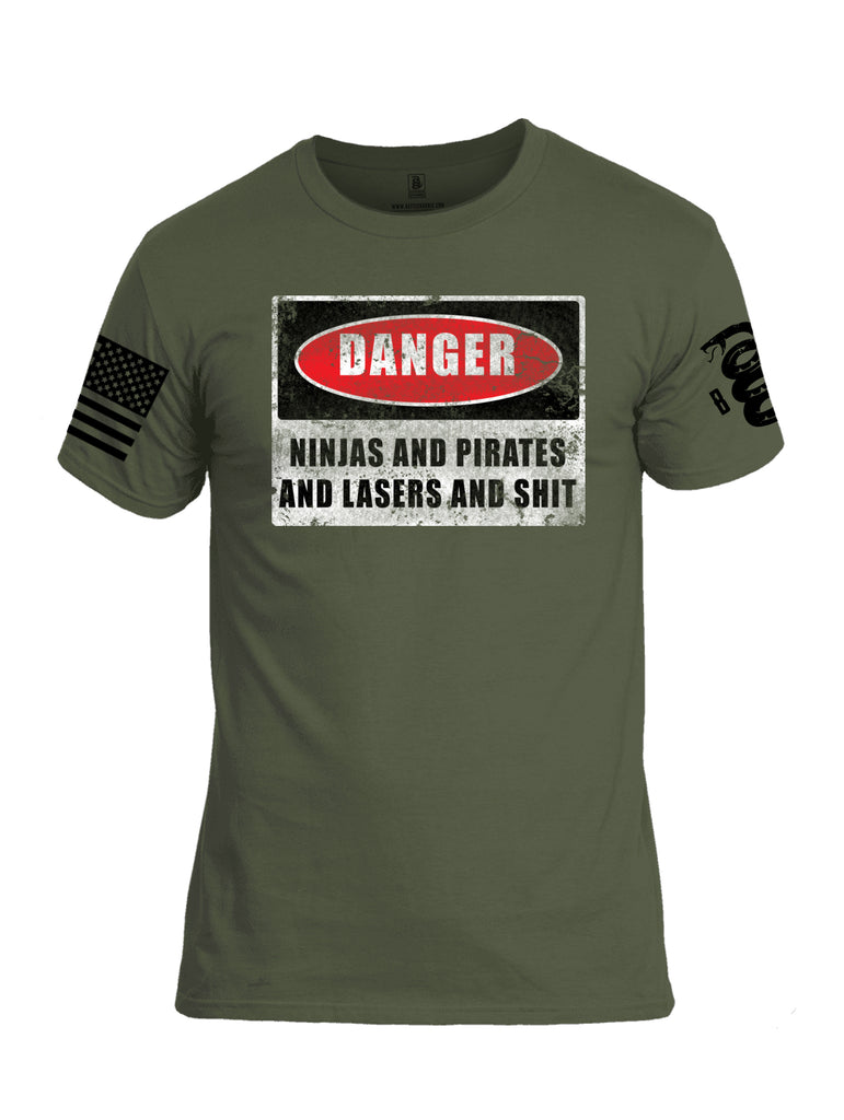 Battleraddle Danger Ninjas And Pirates And Laser And Shit Black Sleeve Print Mens Cotton Crew Neck T Shirt