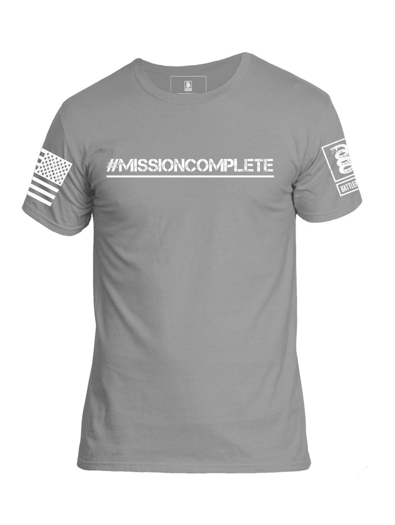 Battleraddle #Mission Complete White Sleeve Print Mens Cotton Crew Neck T Shirt - Battleraddle® LLC