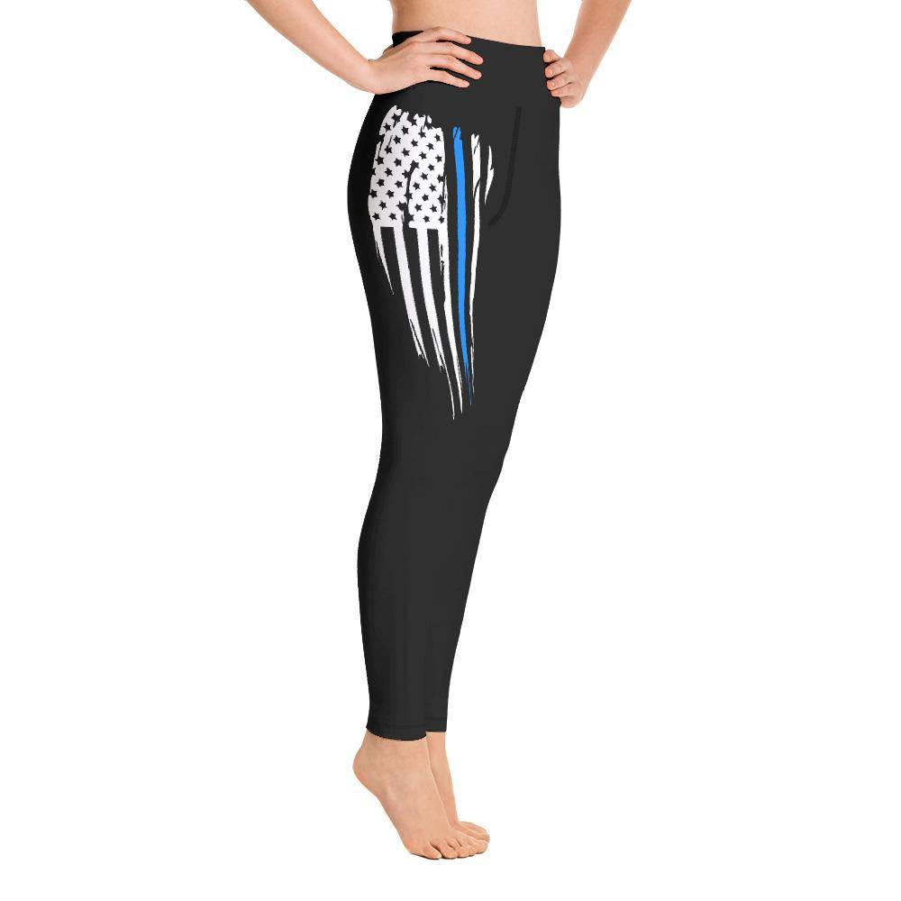 Battleraddle USA Flag Blue Thin Line Womens Black Yoga Leggings shirt|custom|veterans|Leggings