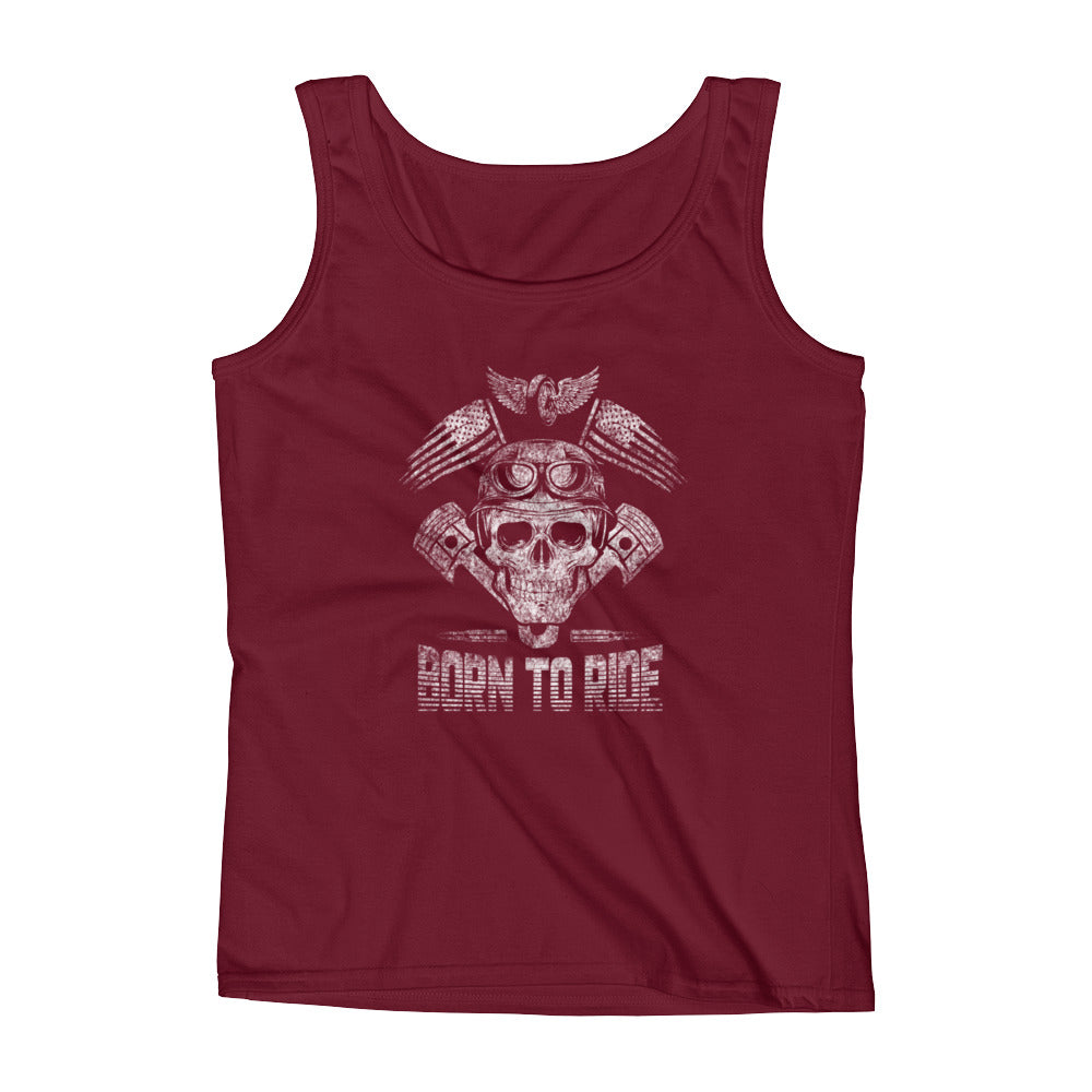 BattleRaddle Women's Tank Tops Born to Ride White Print Ladies' Tank