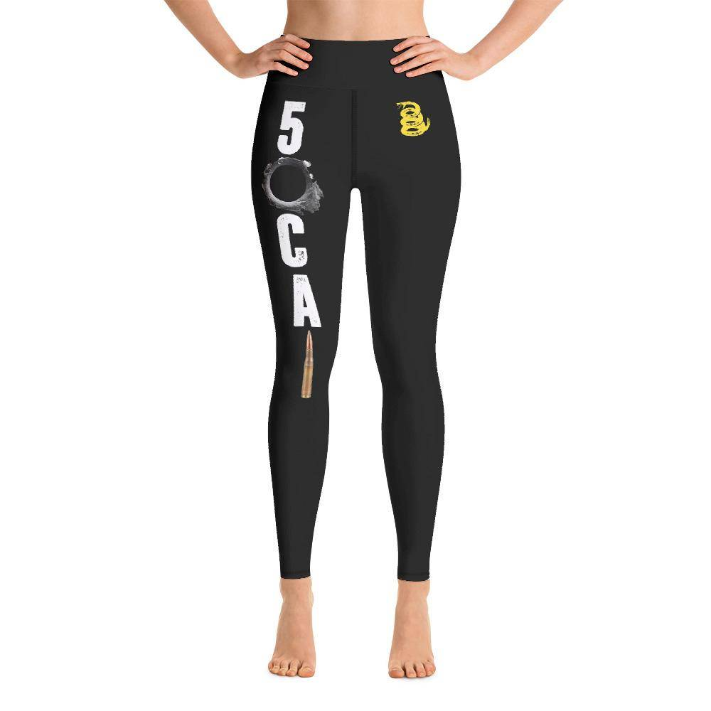 Battleraddle 50 CAL Bullet Womens Black Yoga Leggings With Snake Logo shirt|custom|veterans|Leggings