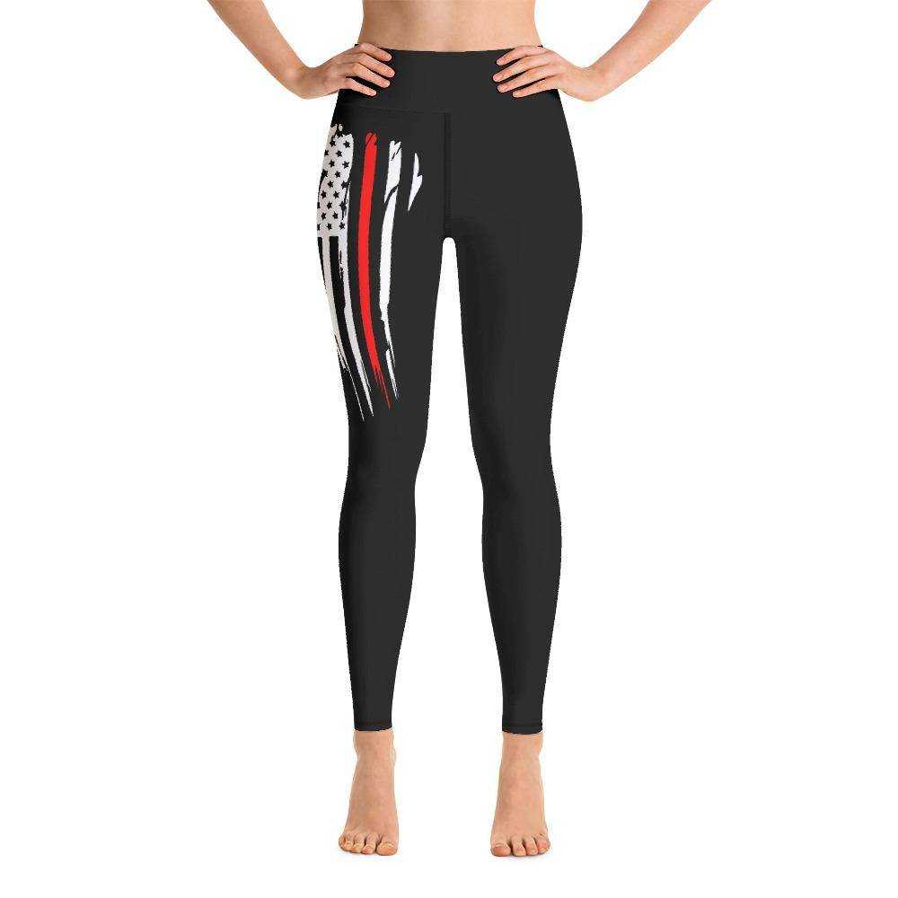Battleraddle USA Flag Red Thin Line Womens Black Yoga Leggings shirt|custom|veterans|Leggings