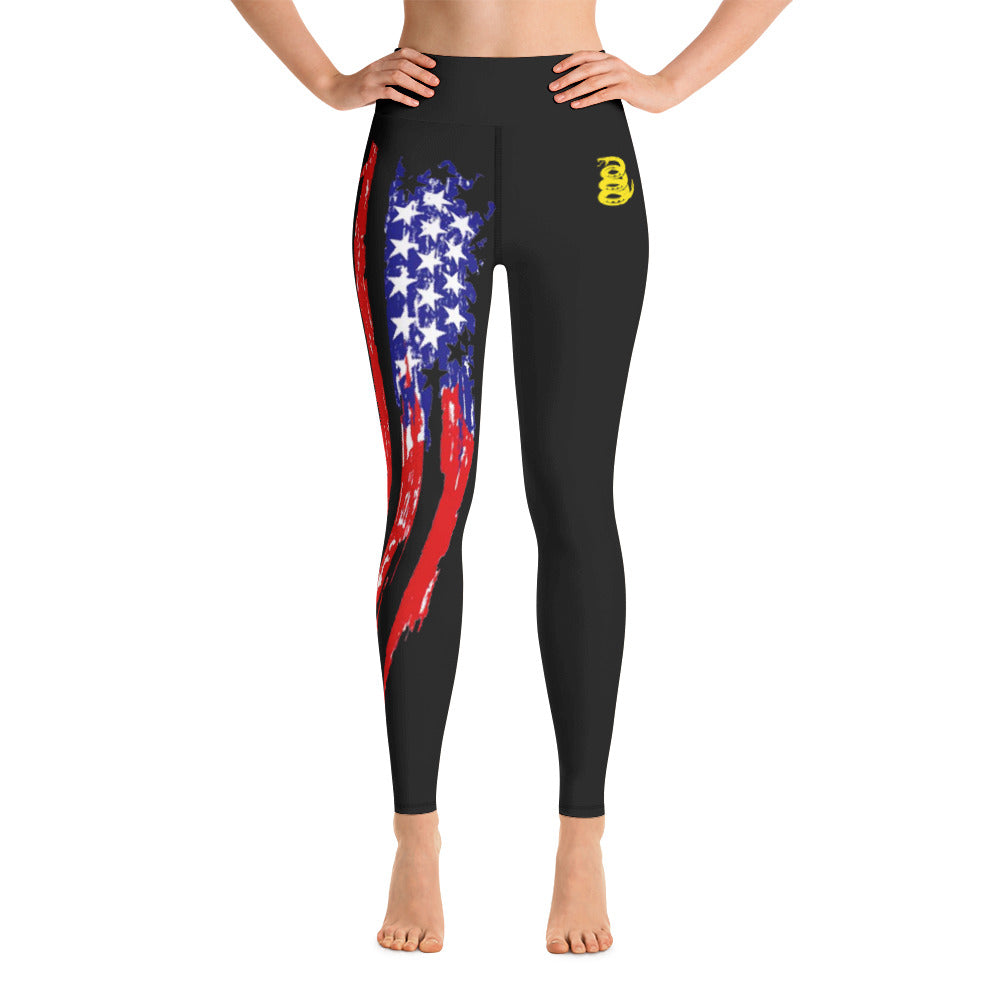 Battleraddle Ripped USA Flag Womens Black Yoga Leggings With Snake Logo
