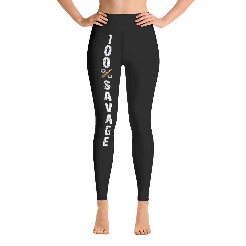 Battleraddle 100% Savage Womens Black Yoga Leggings shirt|custom|veterans|Leggings