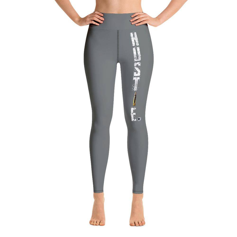 Battleraddle Hustle Womens Grey Yoga Leggings shirt|custom|veterans|Leggings