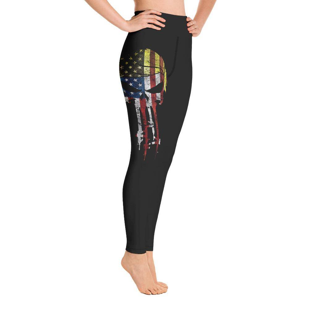 Battleraddle Mr. President Expounder USA Flag Womans Black Yoga Leggings shirt|custom|veterans|