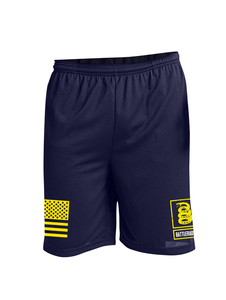 Battleraddle Flag And Snake Logo Yellow Leg Print 100% Battlefit Polyester Mens Elastic Waistband Shorts With Pockets