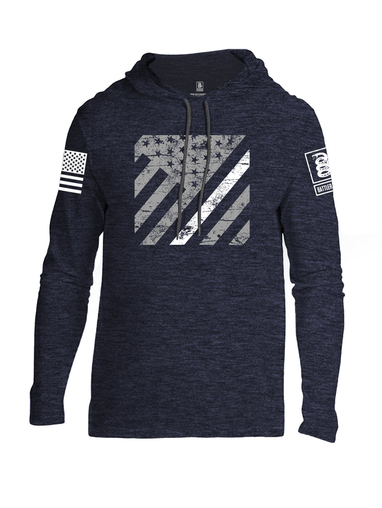 Battleraddle Vertical USA Flag White Line White Sleeve Print Mens Thin Cotton Lightweight Hoodie