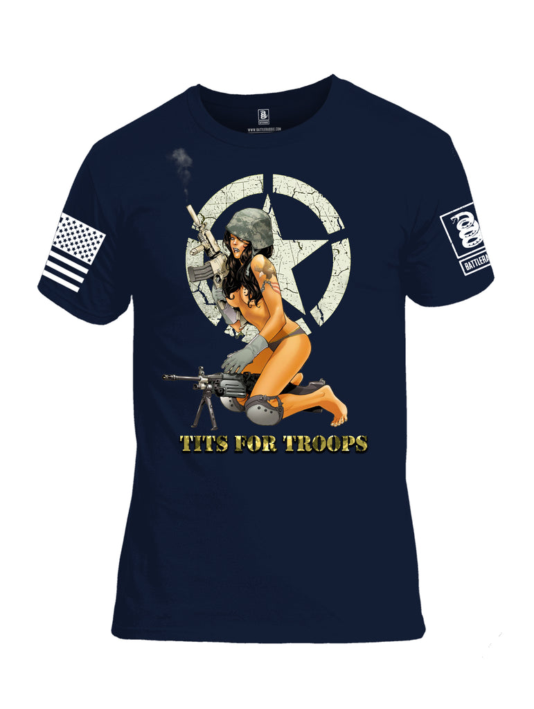 Battleraddle Tits For Troops White Sleeve Print Mens Cotton Crew Neck T Shirt