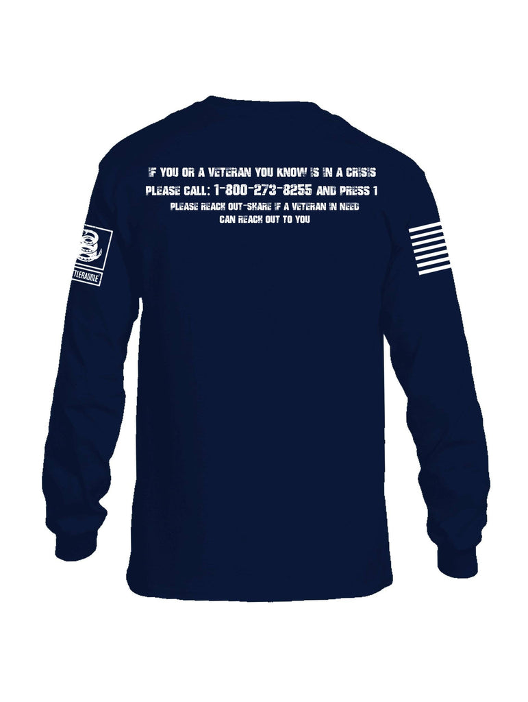Battleraddle 22 Veterans Die By Suicide A Day White Sleeve Print Mens Cotton Long Sleeve Crew Neck T Shirt shirt|custom|veterans|Men-Long Sleeves Crewneck Shirt