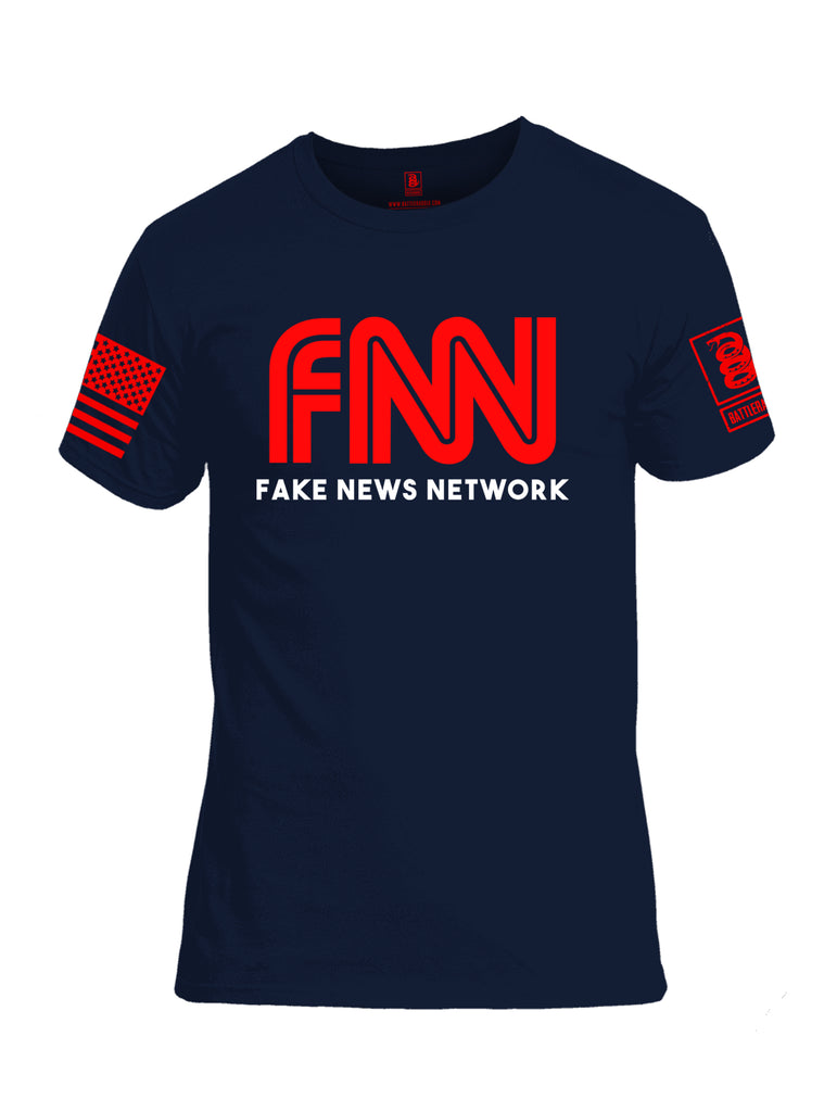 Battleraddle FNN Fake News Network Red Sleeve Print Mens Cotton Crew Neck T Shirt