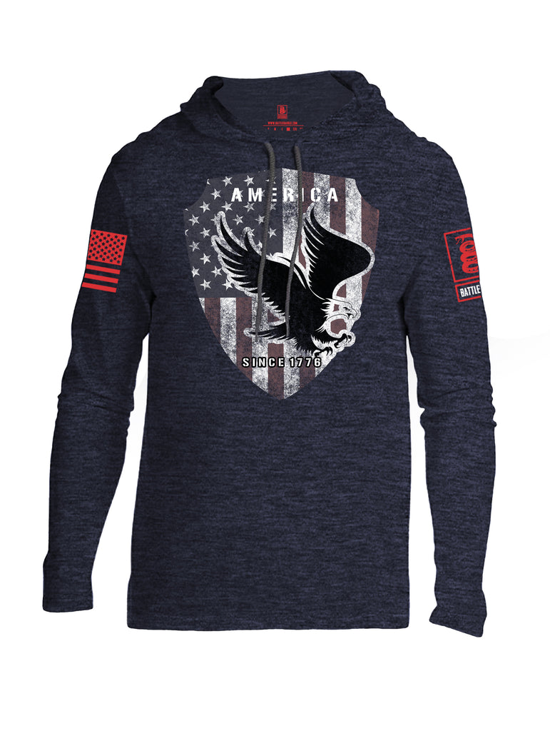 Battleraddle America Since 1776 Red Sleeve Print Mens Thin Cotton Lightweight Hoodie - Battleraddle® LLC
