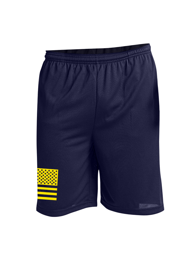 Battleraddle Flag Yellow Leg Print 100% Battlefit Polyester Mens Elastic Waistband Shorts With Pockets