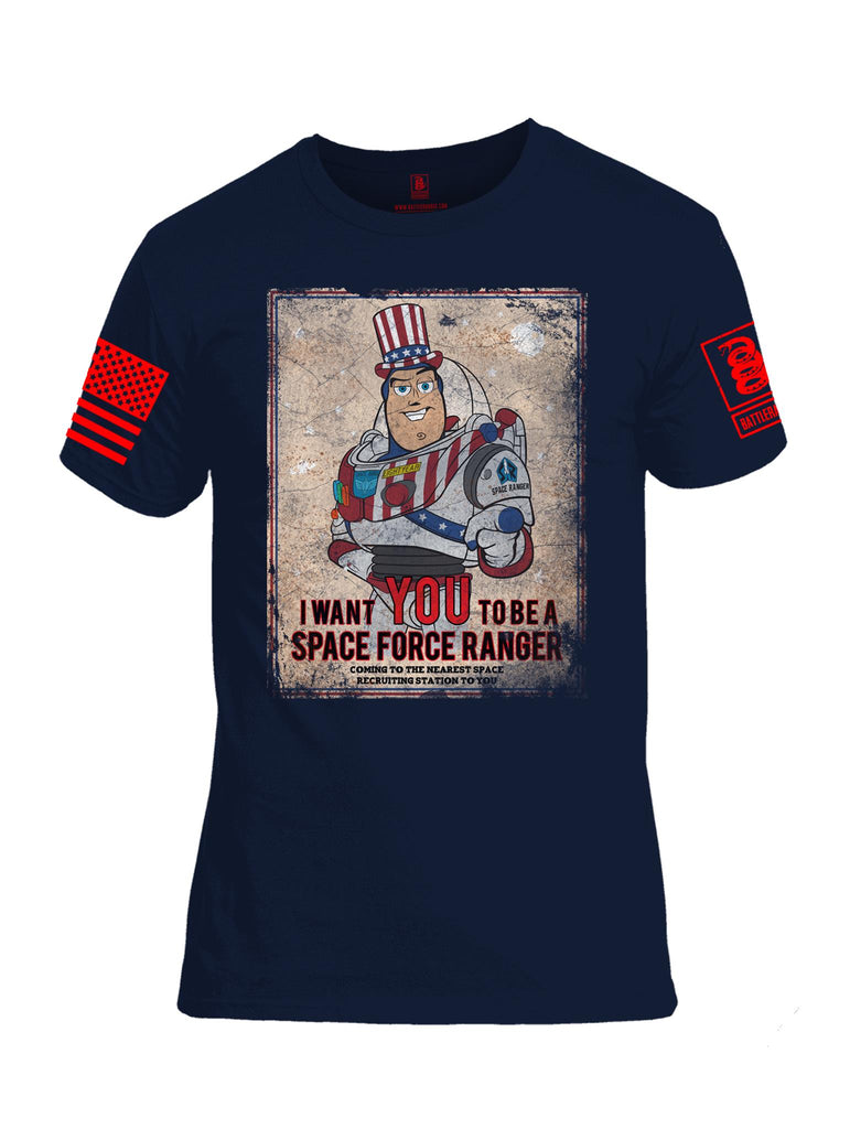 Battleraddle I Want You To Be A Space Force Ranger Red Sleeve Print Mens Cotton Crew Neck T Shirt