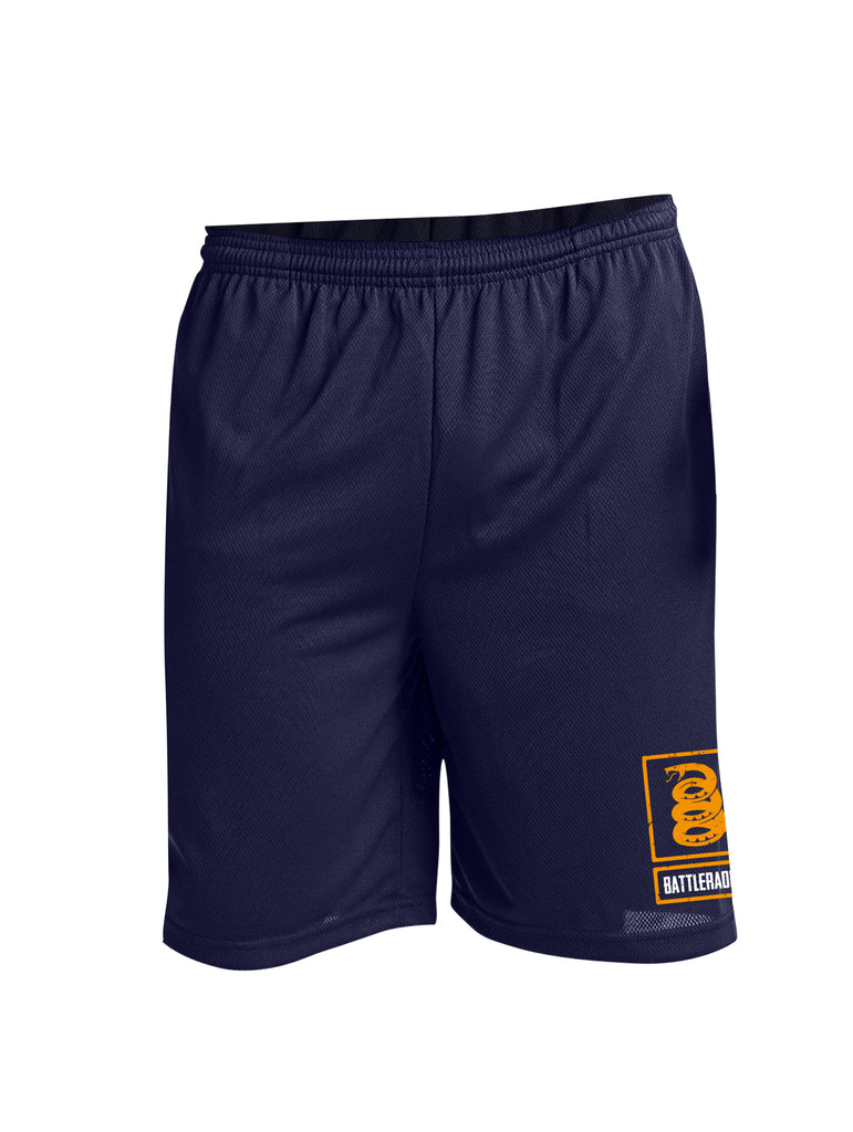 Battleraddle Snake Logo Orange Leg Print 100% Battlefit Polyester Mens Elastic Waistband Shorts With Pockets