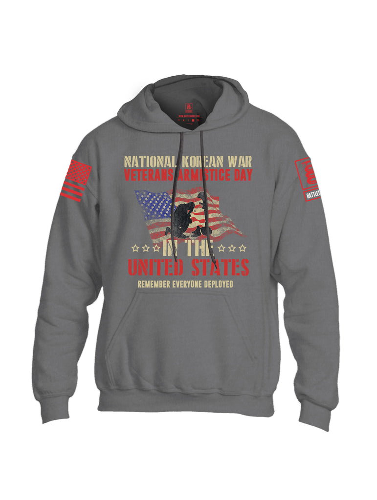 Battleraddle National Korean War Veterans Armistice Day In The United States Remember Everyone Deployed Red Sleeve Print Mens Blended Hoodie With Pockets