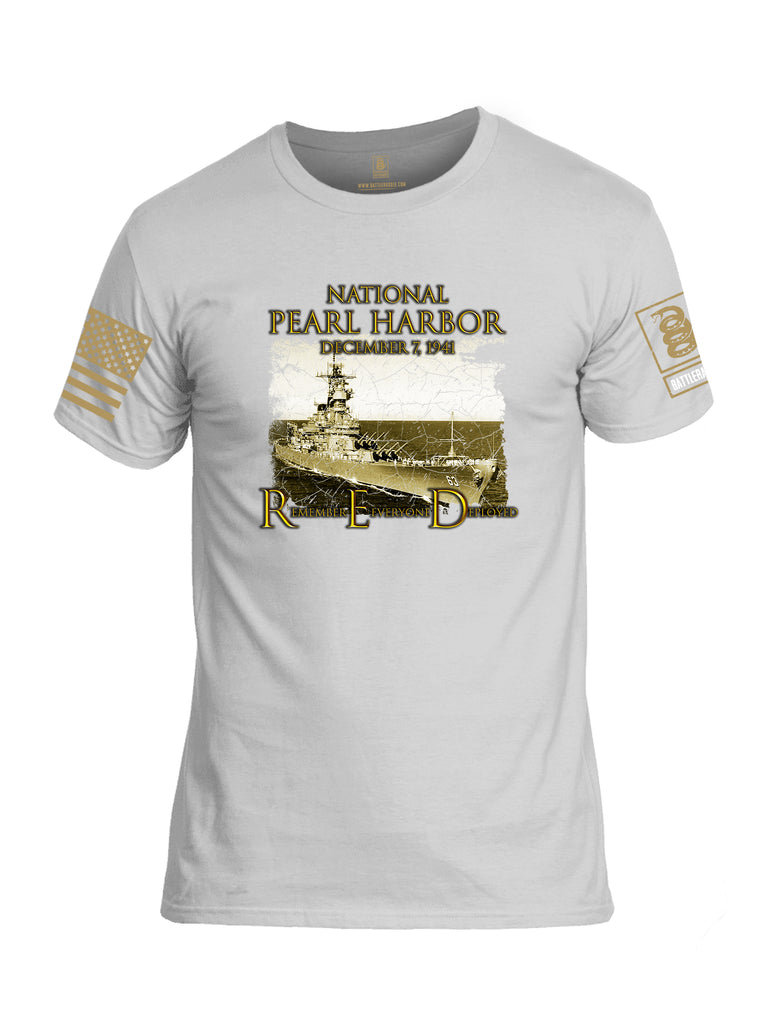 Battleraddle National Pearl Harbor Brass Sleeve Print Mens Cotton Crew Neck T Shirt