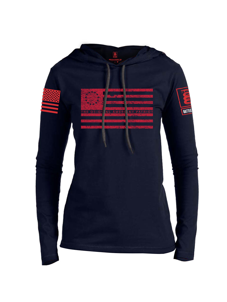 Battleraddle The Original American Patriot Flag Red Sleeve Print Womens Thin Cotton Lightweight Hoodie