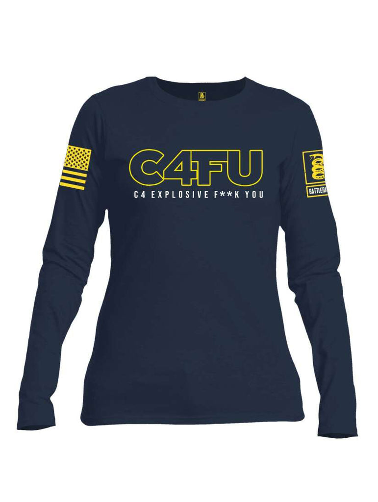 Battleraddle C4FU C4 Explosive F**k You Yellow Sleeve Print  Womens Cotton Long Sleeve Crew Neck T Shirt