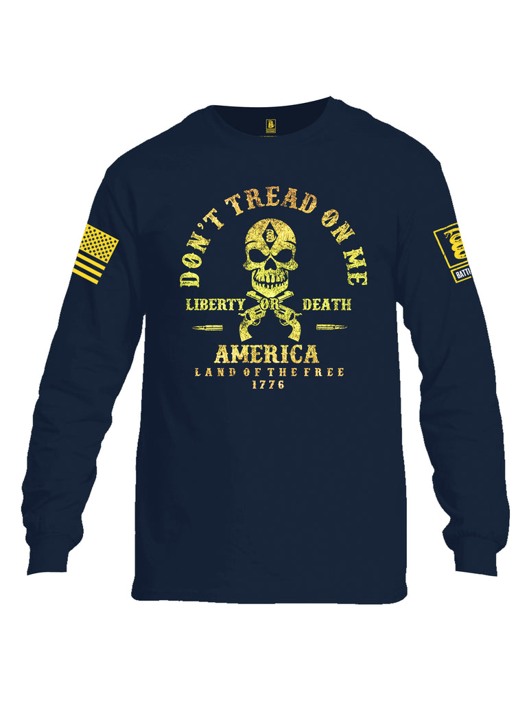 Battleraddle Don't Tread On Me Liberty Or Death America Land Of The Free 1776 Yellow Sleeve Print Mens Cotton Long Sleeve Crew Neck T Shirt