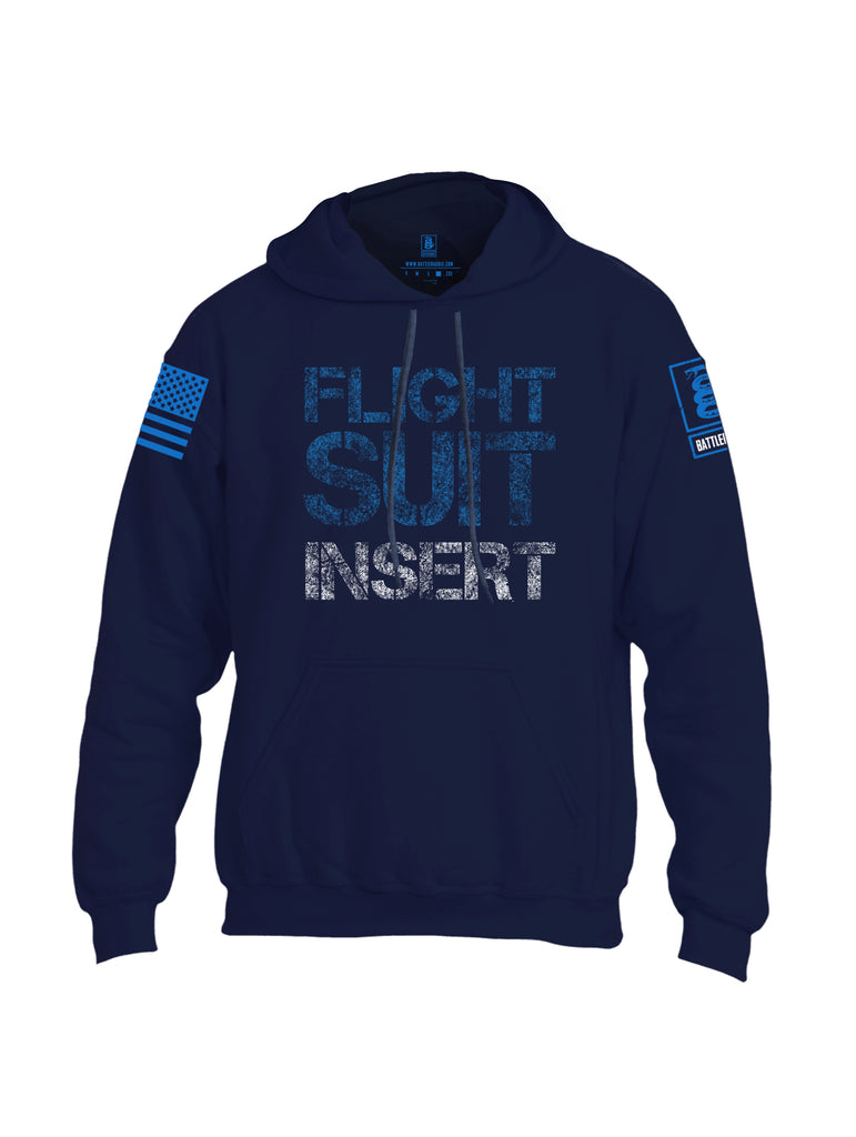 Battleraddle Flight Suit Insert Blue Sleeve Print Mens Blended Hoodie With Pockets