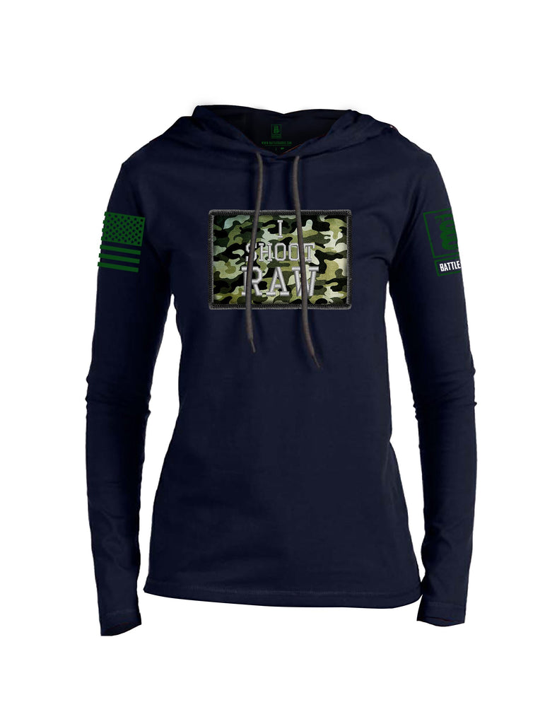 Battleraddle I Shoot Raw Green Sleeve Print Womens Thin Cotton Lightweight Hoodie