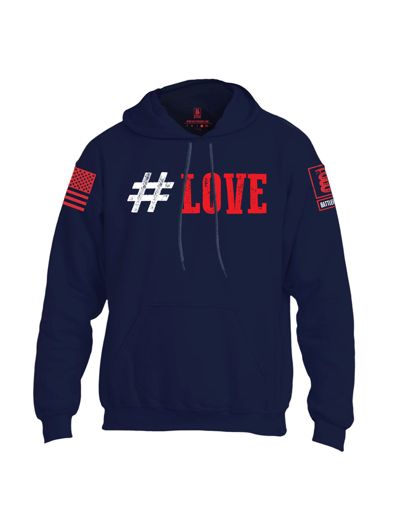 Battleraddle #Love Red Sleeve Print Mens Blended Hoodie With Pockets
