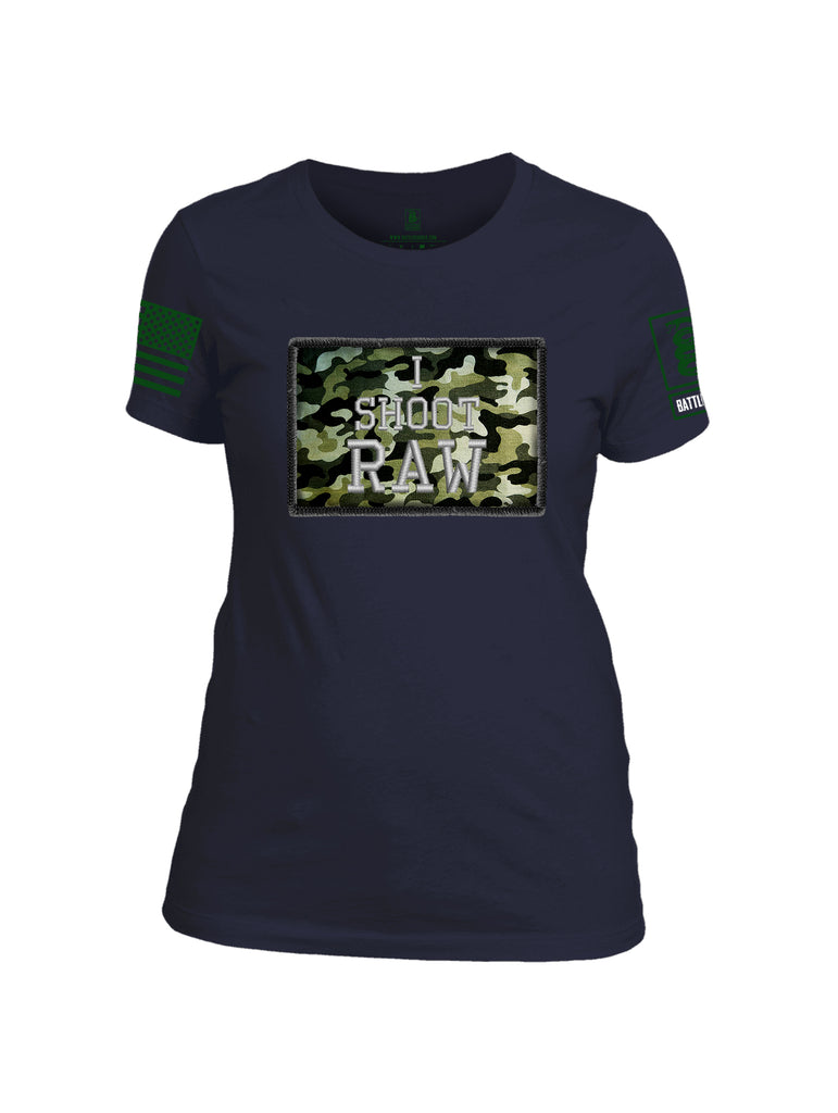 Battleraddle I Shoot Raw Green Sleeve Print Womens Cotton Crew Neck T Shirt
