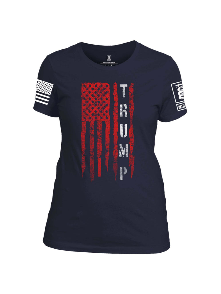 Battleraddle Flag Trump White Sleeve Print Womens 100% Battlefit Polyester Crew Neck T Shirt