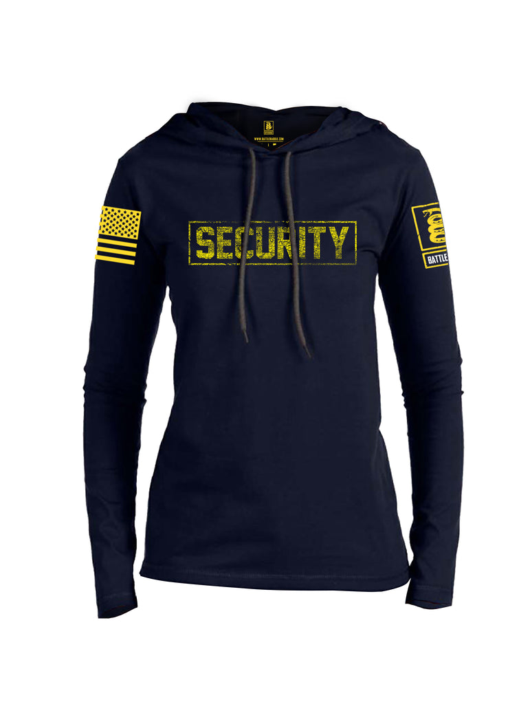 Battleraddle Security Yellow Sleeve Print Womens Thin Cotton Lightweight Hoodie
