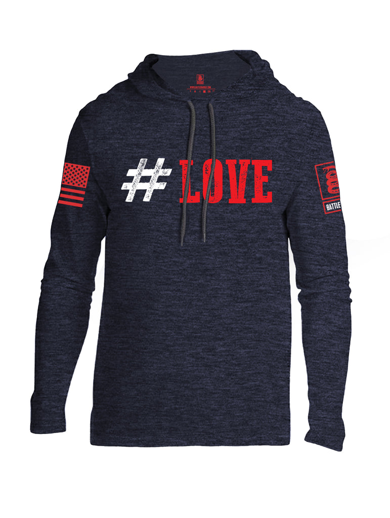 Battleraddle #Love Red Sleeve Print Mens Thin Cotton Lightweight Hoodie
