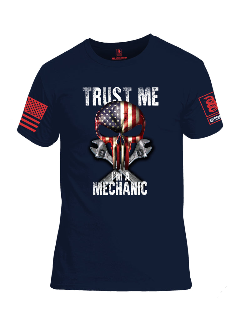 Battleraddle Trust Me I'm A Mechanic Red Sleeve Print Mens Cotton Crew Neck T Shirt